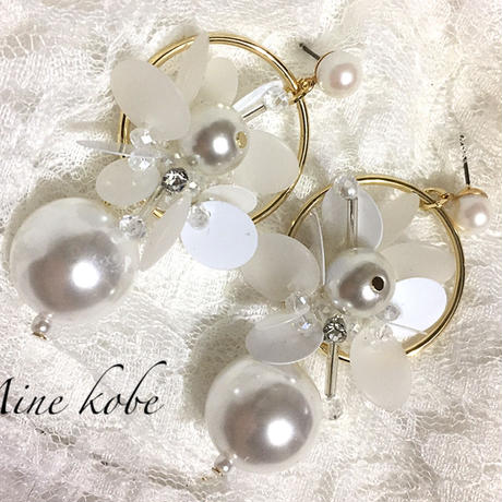 White pearl beads pierce