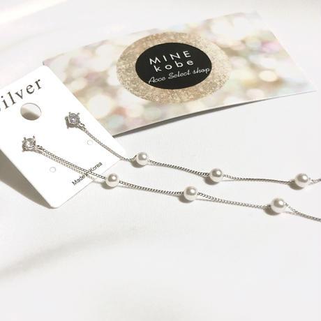 【silver925】petit pearl silver chain pierce