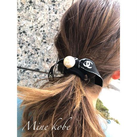 cc motif ribbon pearl bijou hair gom