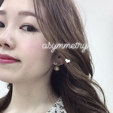 【チタン】asymmetry ribbon bijou pearl  pierce