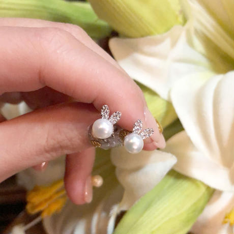 【silver925】rabbit bear bijou pearl pierce