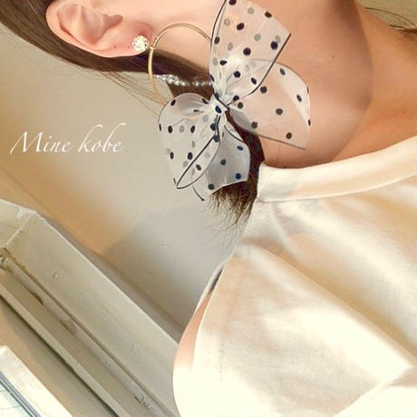 【silver】dot  see-through ribbon pierce