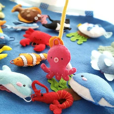 【型紙レシピ】フェルトの魚釣りセット
