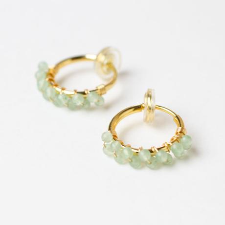 Green aventurine hoop earring