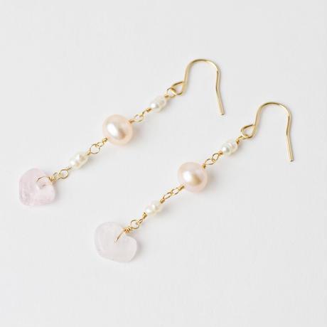 morganite×Fresh Water Pearl pierce / earring (mn-pi-164)