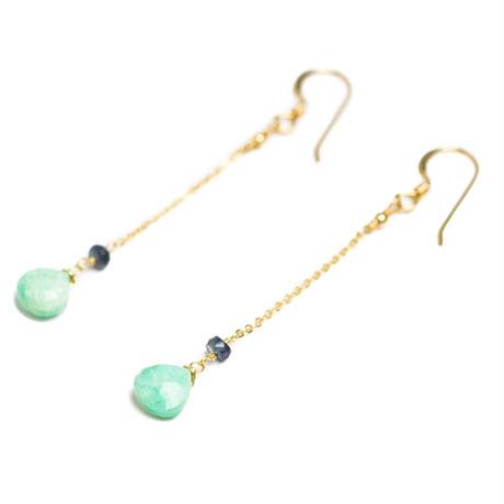 Amazonite×Sapphire chain pierce(mn-pi-008)