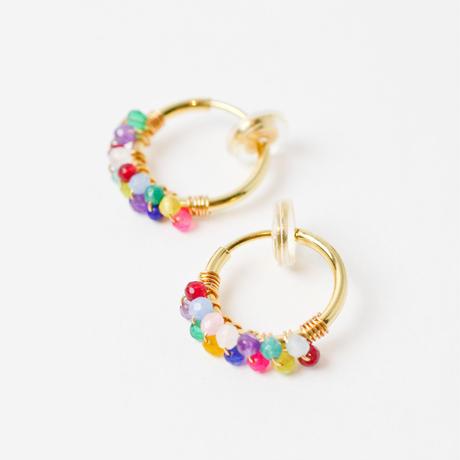 multi color agate hoop earring(mn-pi-177-a-er)