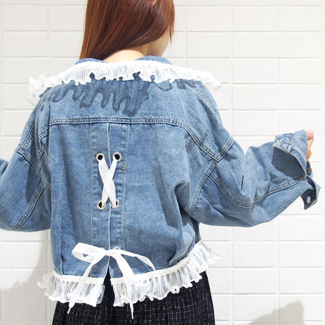 裾襟レースアップデニムジャケット