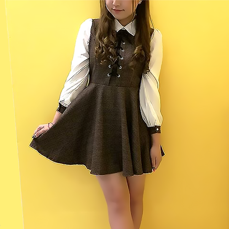 【10/末販売開始】クラシカルワンピース (ブラウン)