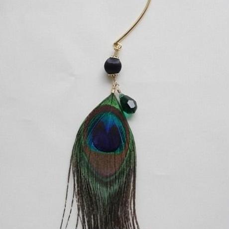 peacock feather ear hook