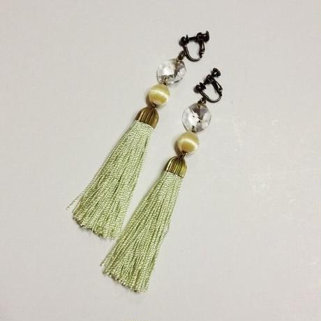 antique green tassel earrings