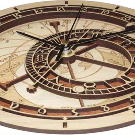 天体アンティーク 壁掛け時計 30cm アナログ アートクォーツ 木製 レトロ おしゃれ ヴィンテージ 星座壁時計 リビングルーム 寝室 色:カーキ (kk03683)