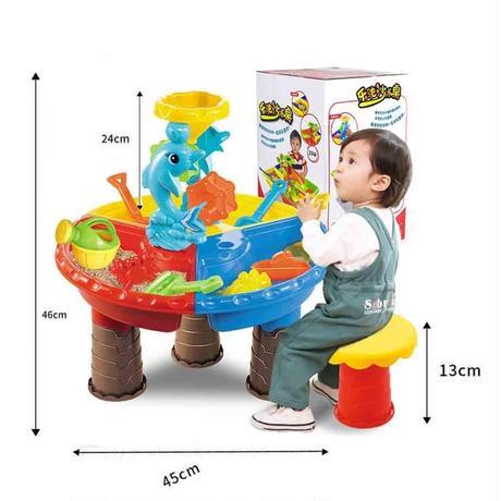 おもちゃ 屋外 野外 砂場 遊び場 サンドバケツ ウォーターホイール テーブル プレイセット 子供 キッズ 学習 教育 知育玩具 ギフト プレゼント(kk05331)