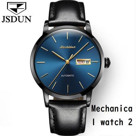 JSDUN メンズ 腕時計 機械式 自動巻 レザー トゥールビヨン ビジネス シンプル 通学 通勤 ウォッチ(kk04712)