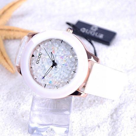 GUOU レディース 腕時計 ウォッチ キラキラ カラフル ジュエリーウォッチ リストウォッチ レザー 革バンド 通勤 通学(kk04782)