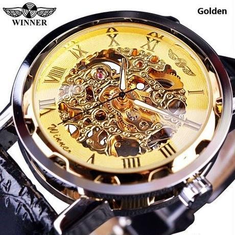 T-WINNER メンズ 腕時計 ウォッチ スケルトン 手巻き 機械式 時計 メカニカルハンド レザーベルト 男性用 カジュアル ビジネス ファッション(kk04708)