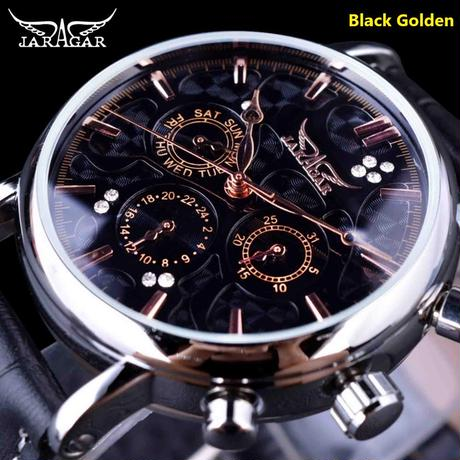 JARAGAR メンズ 腕時計 ウォッチ 自動巻き 機械式 カレンダー 革 レザーバンド 男性用 おしゃれ ビジネス カジュアル ファッション automatic メカニカル(kk04697)