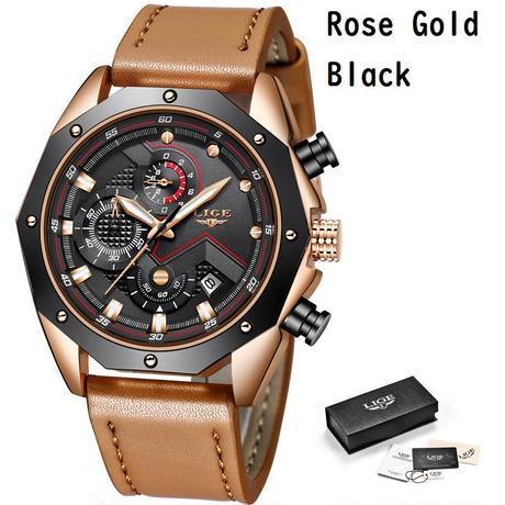 LIGE メンズ 腕時計 クロノグラフ ウォッチ 男性 カジュアル クォーツ レザーバンド 通勤 通学 ビジネス(kk04727)