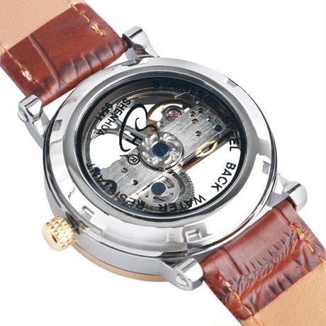 SHENHUA メンズ 腕時計 ウォッチ 自動巻き 機械式 スケルトン時計 レザーバンド 革 レロジオ お洒落 シンプル 男性用 ビジネス カジュアル ファッション(kk04738)