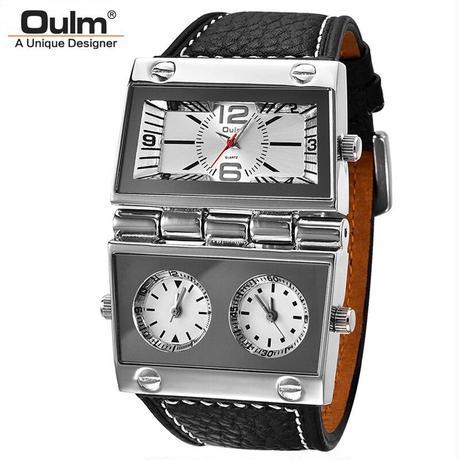 Oulm メンズ 腕時計 スポーツ 3 タイムゾーン クォーツ式 ビックサイズ 男性 ビジネス 旅行 通勤 通学 カジュアル(kk04703)