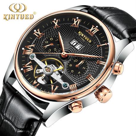 KINYUED 腕時計 メンズ 自動巻き トゥールビヨン 機械式 ステンレス ビジネス カジュアル 男性 ウォッチ(kk04550)