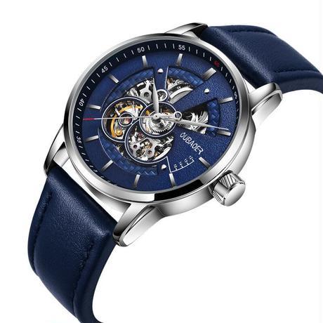OUBAOER メンズ 腕時計 レザー スケルトン 自動機械式 防水 ビジネス スポーツ 通勤 通学 カジュアル(kk04704)