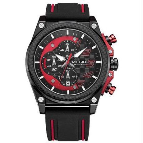 MEGIR メンズ 腕時計 防水 クロノグラフ 日付 クォーツ式 ウォッチ 通勤 通学 スポーツ(kk04633)