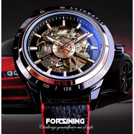FORSINING メンズ 腕時計 ウォッチ 自動巻き 機械式 オートバイデザイン 革 レザーバンド 防水 スケルトン 男性用 カジュアル ファッション(kk04737)