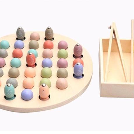 おもちゃ 木製 モンテッソーリ教育 幼児 磁気釣り 魚釣り お箸 練習 トレーニング 子供 キッズ 早期教育 知育玩具 ギフト プレゼント(kk05457)