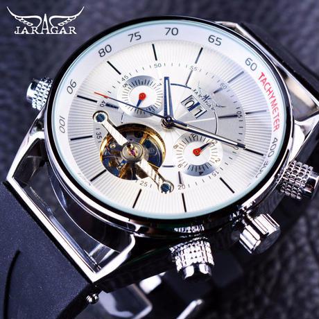 JARAGAR メンズ 腕時計 ウォッチ 自動巻き 機械式 カレンダー ラバー シリコンバンド 男性用 カジュアル ファッション ビジネス(kk04701)