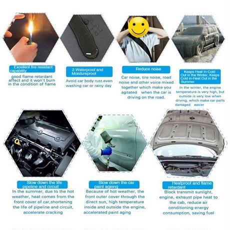 ファイアウォール 断熱 防音マットパッド デットナー ドアフードグラスファイバー ゴム スポンジ 12個 (kk02361)