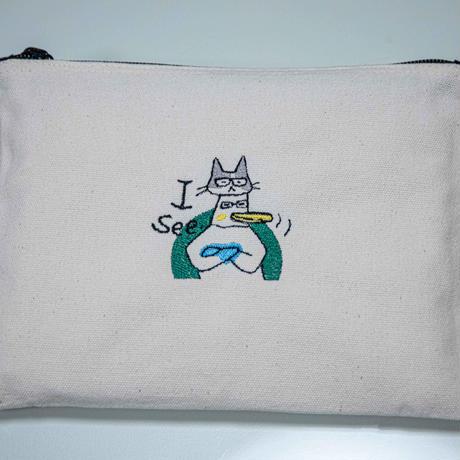 ウミネコ刺繍ポーチ