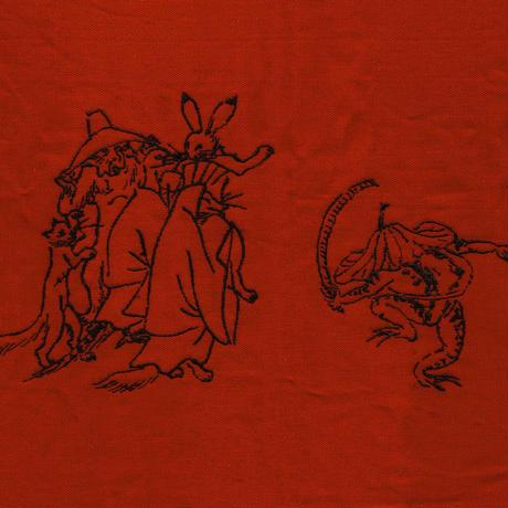 帆布ふろしきバッグ鳥獣戯画刺繍アカ
