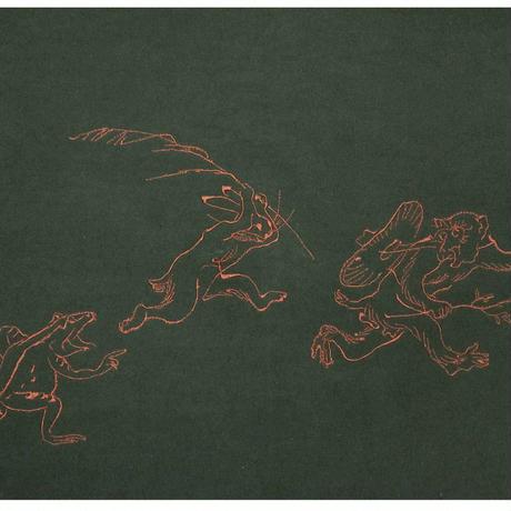 帆布ふろしきバッグ鳥獣戯画刺繍カーキ