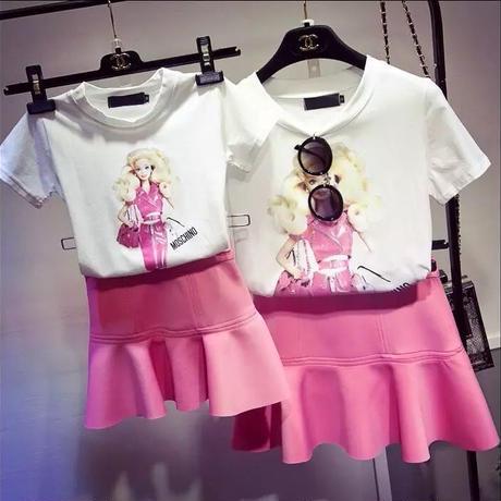 親子ペア プリントTシャツ+ミニスカート(大人サイズ)