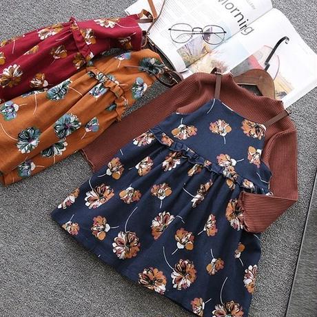 長袖トップス+花柄キャミワンピSET