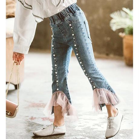パールデザイン裾レースジーンズ
