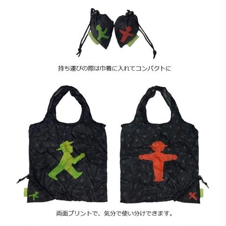 NEW☆ドイツ 大人気 信号キャラクター【アンペルマン】ショッピングバッグ 黒 両面デザイン