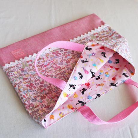 レッスンバッグ女の子用・ファンシーリボン(ピンク)