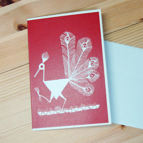 インド先住民族アートギフトカード(定形)ワルリ画・クジャクレッド