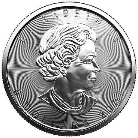 【送料無料】銀貨 メイプルリーフ カナディアンシルバーコイン 2021  1トロイオンス(約31.1g)1チューブ(25枚入り)