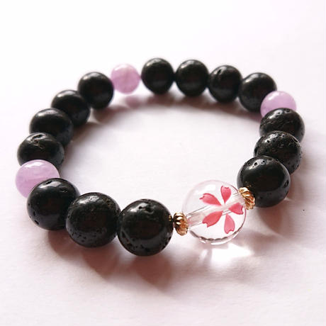 日本の国花「桜」がモチーフ♥️富士山溶岩のグラウンィングパワーと木花咲耶姫の優しさを貴方にも…!強さと優しさを兼ね備えた☆開運サポートコノハナブレス♥️」