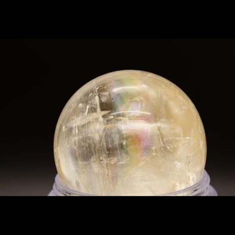 【一点モノ&早い者勝ち!】明るさ・豊かさ・金運・豊穣のゴールデンエナジー!キラメキのレインボー入り!「MIRIAM」厳選☆彡「ゴールデンカルサイト玉(スフィア)」