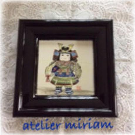 陶器額装  五月飾り(人形)