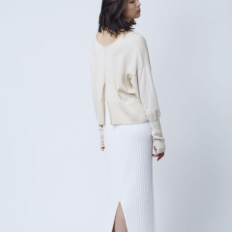 COTTON LOOP KNIT SKIRT  (WHITE)