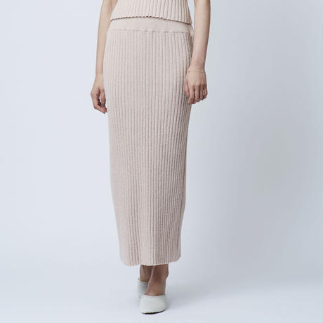 COTTON LOOP KNIT SKIRT (PINKBEIGE)