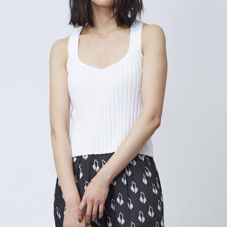 COTTON LOOP KNIT CAMISOLE  (WHITE)