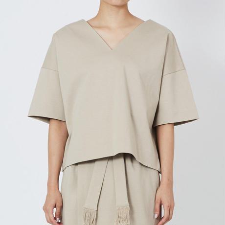 SMOOTH V NECK SHIRTS スムースVネックシャツ(BEIGE)