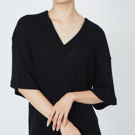 WOOL RIB STITCH DRESS  ウールテレコマキシワンピース(BLACK)