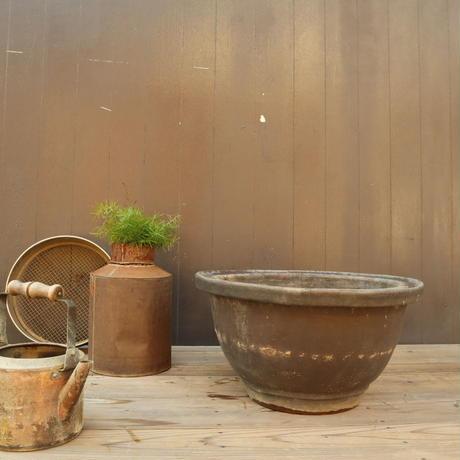 A006 茶釉植木鉢 大鉢44㎝